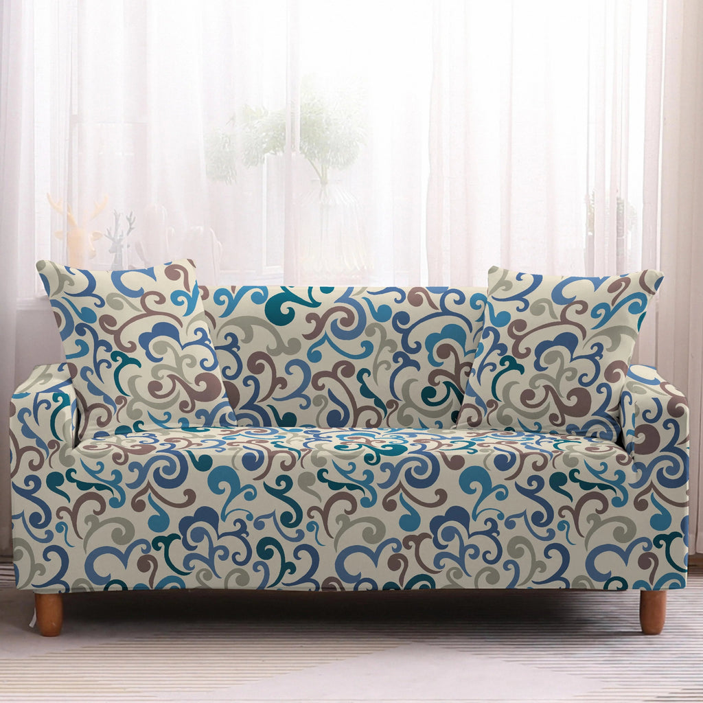 Beige Multi-Color Floral Swirl Pattern Sofa Couch Cover