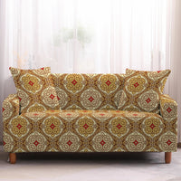 Gold Bohemian Medallion Pattern Sofa Couch Cover