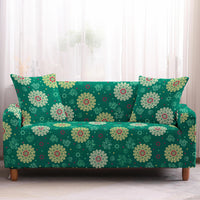 Green Bohemian Floral Pattern Sofa Couch Cover