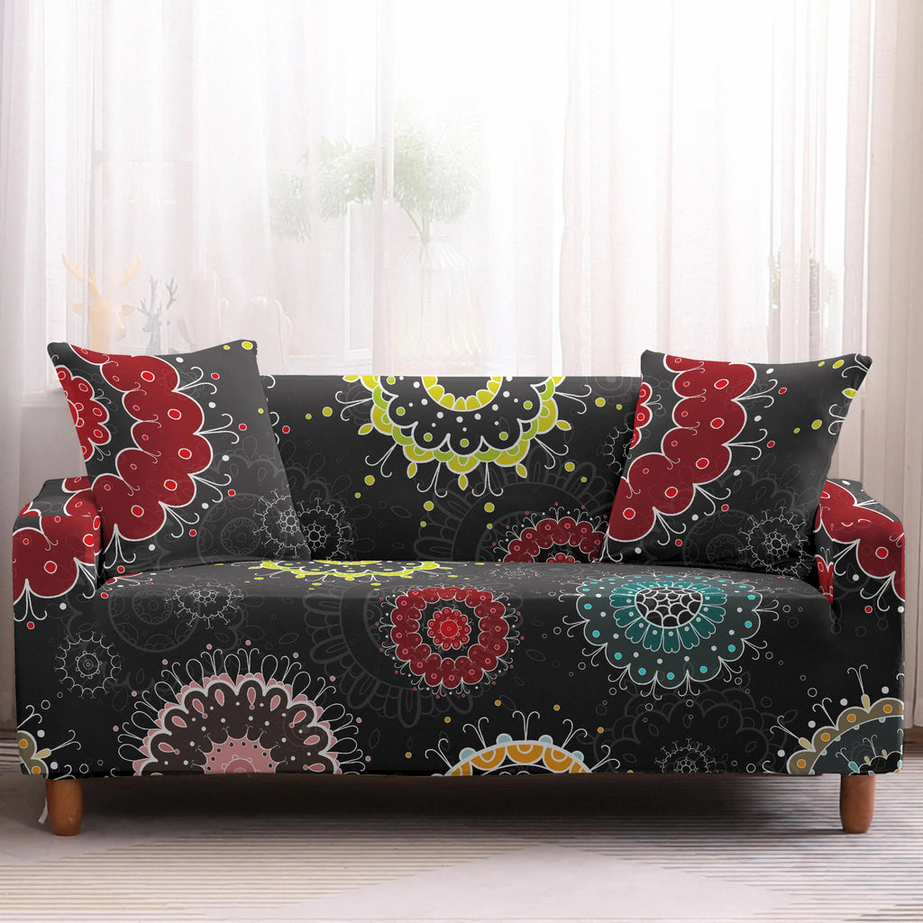 Dark Gray Multi-Color Bohemian Mandala Sofa Couch Cover