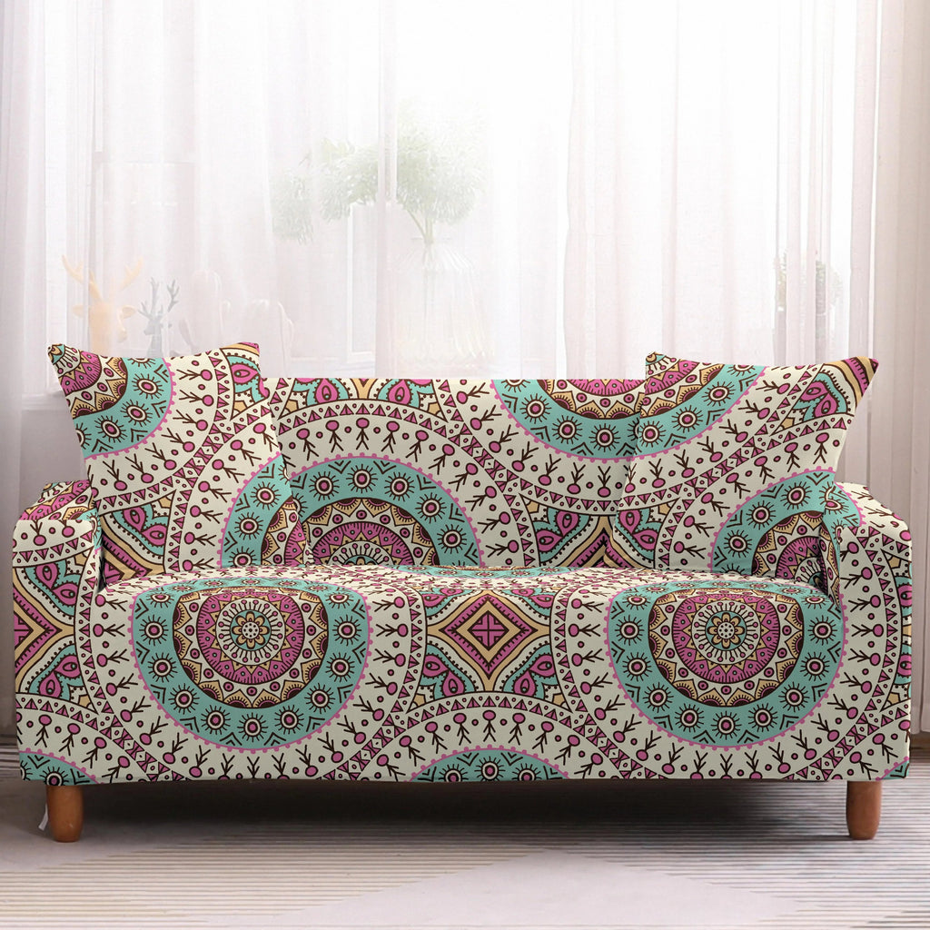 Pink / Teal Bohemian Medallion Pattern Sofa Couch Cover