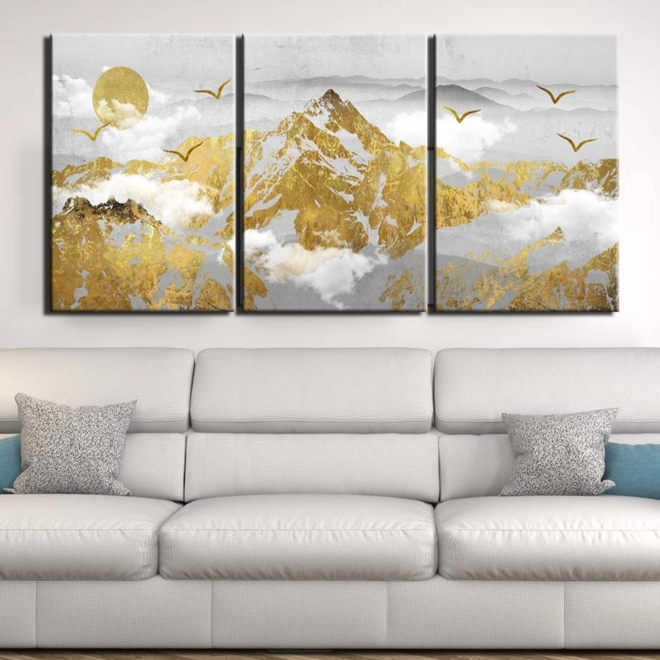 3-Piece Golden Abstract Mountain Range Canvas Wall Art