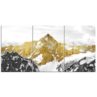 3-Piece Golden Mountain Landscape Canvas Wall Art