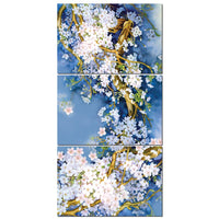 3-Piece Blue & White Chinese Asian Floral Wall Art