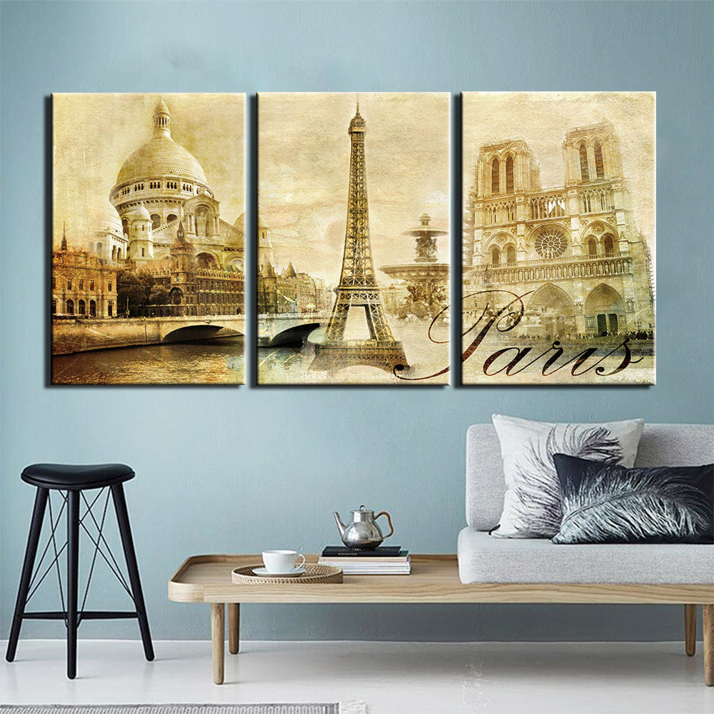 3-Piece Vintage Eiffel Tower Paris Print Canvas Wall Art