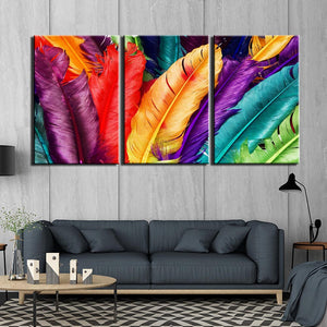 3-Piece Multi-Color Rainbow Feathers Canvas Wall Art