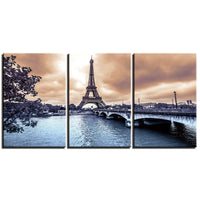 3-Piece Blue Water Paris Eiffel Tower Canvas Wall Art
