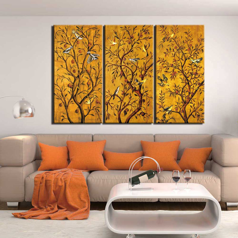 3-Piece Golden Vintage Birds In Trees Canvas Wall Art