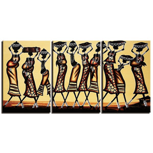 3-Piece Tribal African Savanna Women Canvas Wall Art