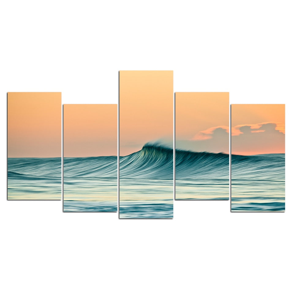 5-Piece Smooth Rolling Ocean Wave Canvas Wall Art