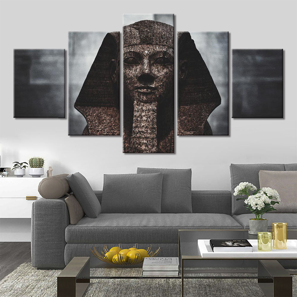 5-Piece Modern Egyptian Pharaoh Statue Canvas Wall Art