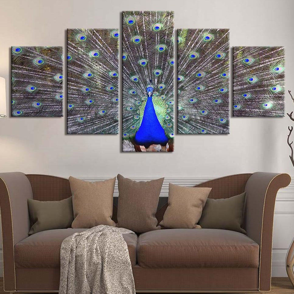 5-Piece Green / Blue Peacock Feathers Canvas Wall Art