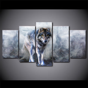 5-Piece Gray Smokey Forest Wolf Canvas Wall Art