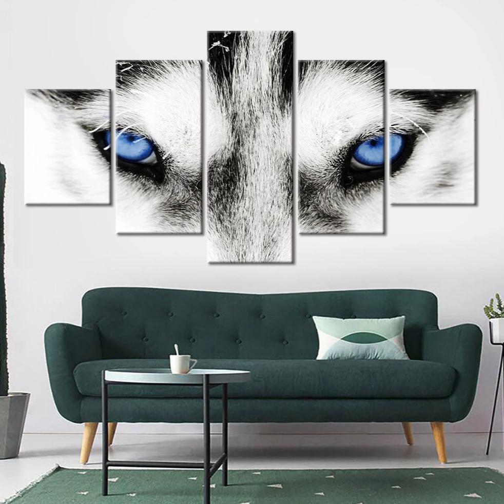 5-Piece Blue White Arctic Wolf Eyes Canvas Wall Art