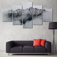 5-Piece Black & Gray Cloudy Mountain Peak Canvas Wall Art