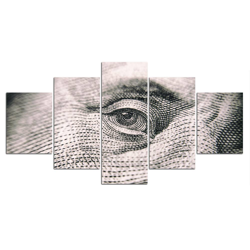 5-Piece One Hundred Dollar Bill Closeup Canvas Wall Art