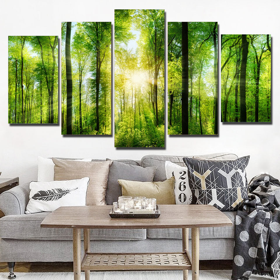 5-Piece Illuminated Green Forest Rays Canvas Wall Art