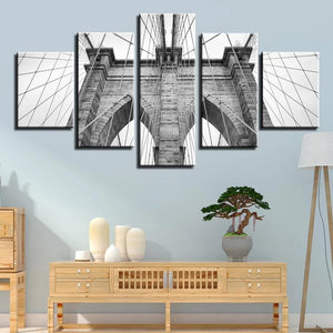 5-Piece Black & White Brooklyn Bridge Closeup Canvas Wall Art