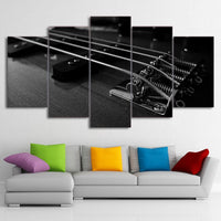 5-Piece Black & White Guitar String Closeup Canvas Wall Art
