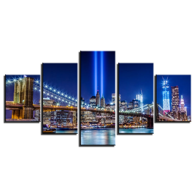 5-Piece New York 911 Memorial Lights Canvas Wall Art