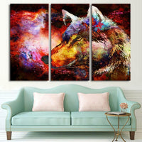 3-Piece Colorful Cosmic Space Wolf Canvas Wall Art