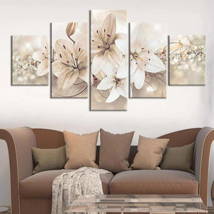 5-Piece White Lily Flowers Canvas Wall Art
