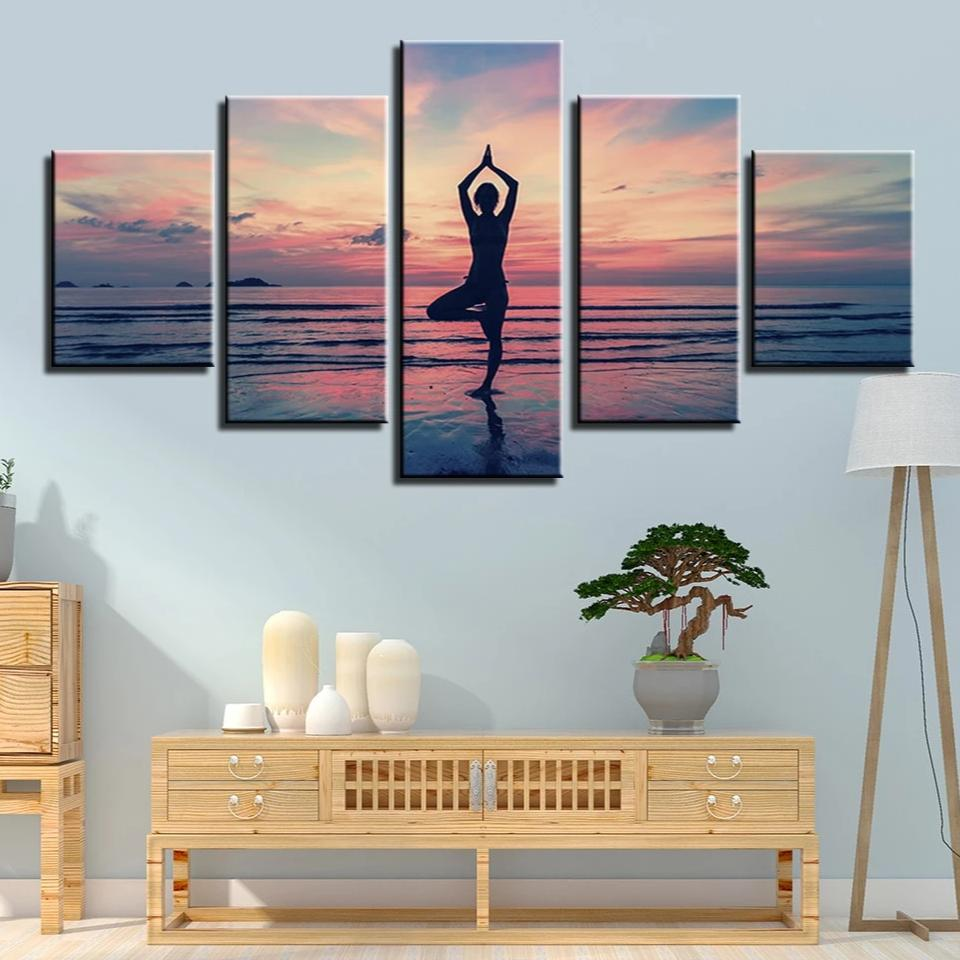5-Piece Pink Coastal Yoga Sunset Canvas Wall Art