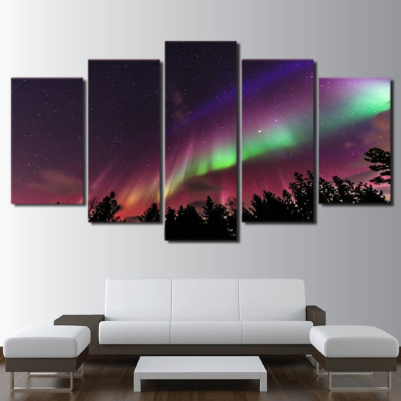 5-Piece Colorful Northern Lights Sky Canvas Wall Art