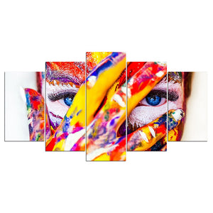 5-Piece Colorful Painted Hidden Eyes Canvas Wall Art