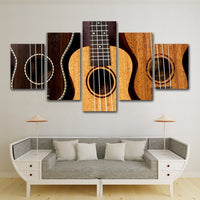 5-Piece Abstract Wooden Acoustic Guitar Canvas Wall Art
