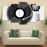 5-Piece Black & White Retro DJ Turntable Canvas Wall Art