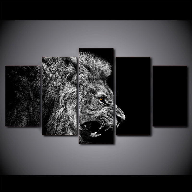 5-Piece Black & White Side Facing Lion Canvas Wall Art