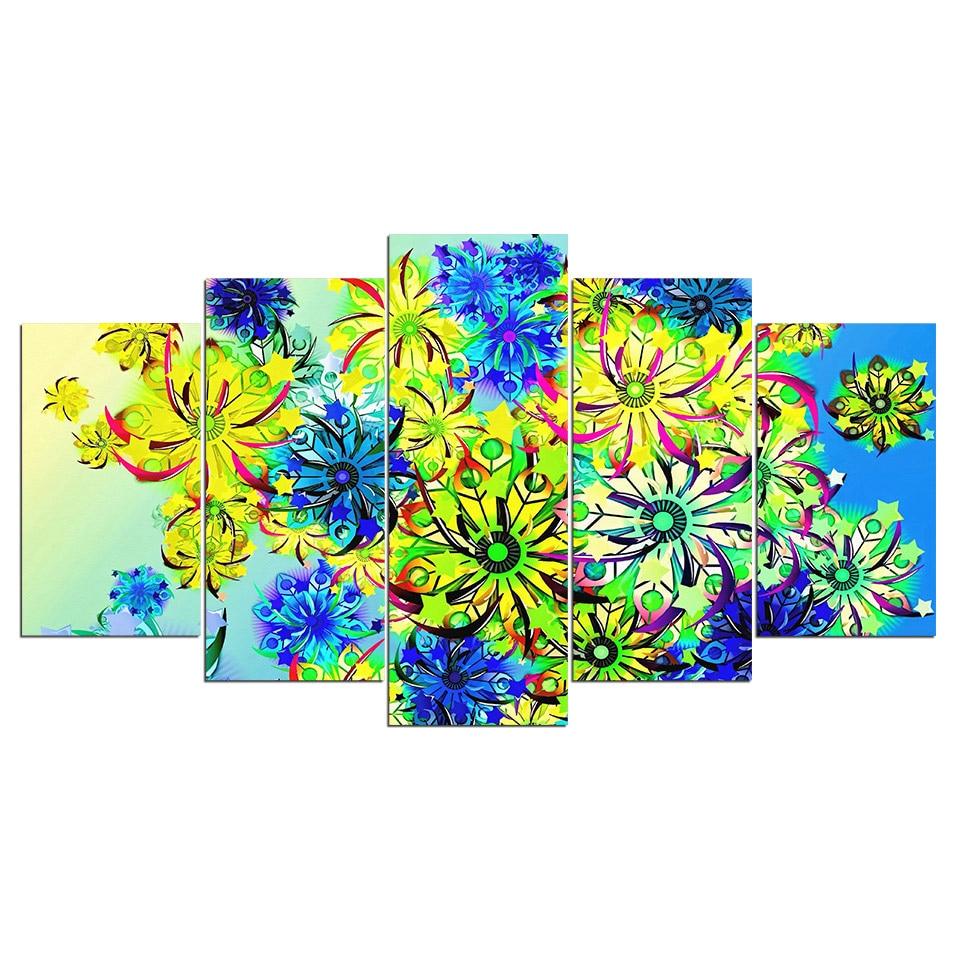 5-Piece Abstract Colorful Hippie Flowers Canvas Wall Art