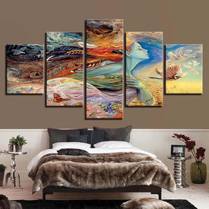 5-Piece Colorful Bird Lady In The Sky Canvas Wall Art