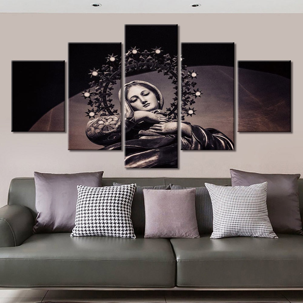 5-Piece Black & White Christian Virgin Mary Canvas Wall Art