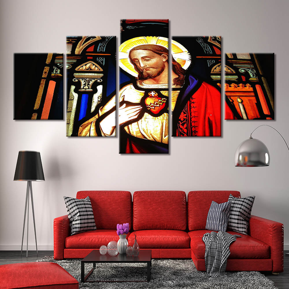5-Piece Christian Stained Glass Jesus Canvas Wall Art