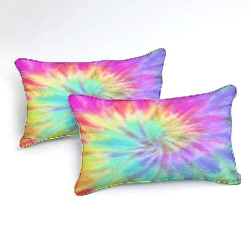 2/3-Piece Pastel Rainbow Tie-Dye Duvet Cover Set