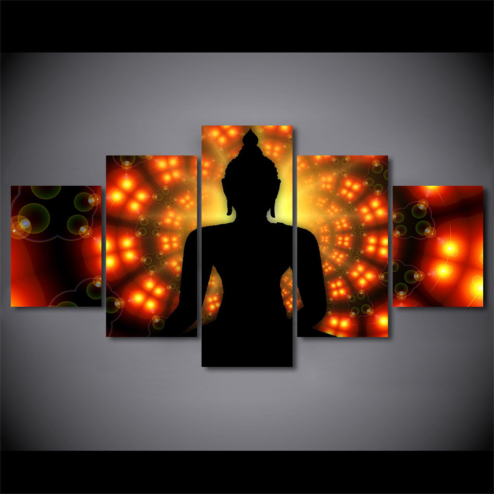 5-Piece Orange Zen Buddha Dreamscape Canvas Wall Art