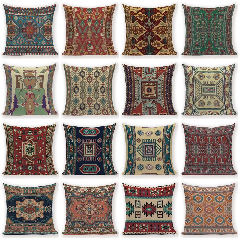 "18"" Vintage Ethnic Bohemian Pattern Throw Pillow Cover"