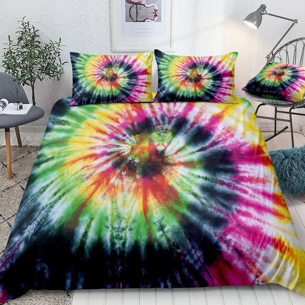 2/3-Piece Colorful Retro Tie-Dye Duvet Cover Set