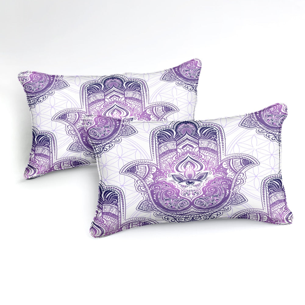 2/3-Piece Purple Bohemian Hamsa Hand Duvet Cover Set
