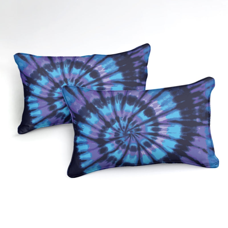 2/3-Piece Blue & Purple Tie-Dye Swirl Duvet Cover Set