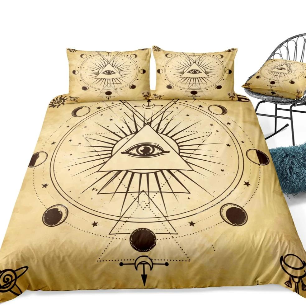 Beige 2/3 Piece Lunar Eclipse Illuminati Duvet Cover Set