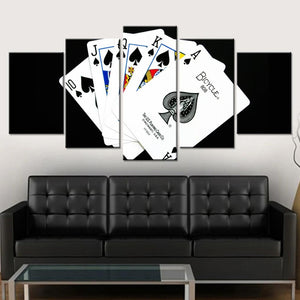 5-Piece Black Spades Playing Cards Canvas Wall Art