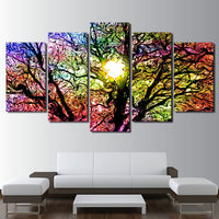 5-Piece Colorful Abstract Swirling Sun Tree Canvas Wall Art