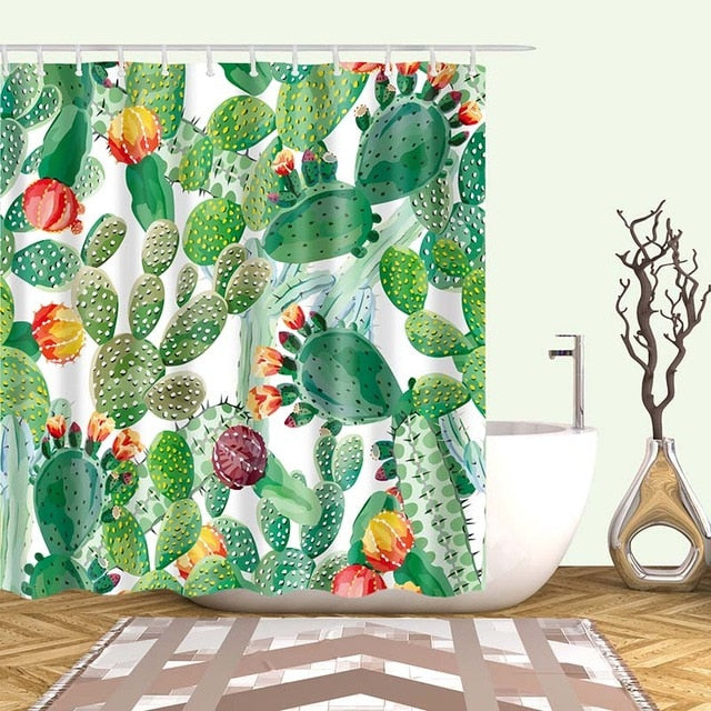 Green Desert Cactus Print Bathroom Shower Curtain