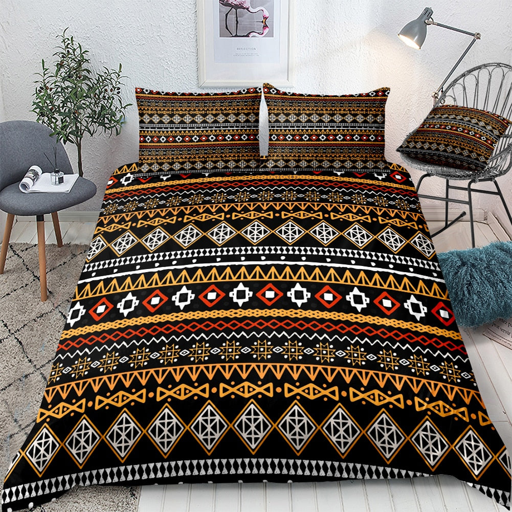 2/3-Piece Black & Orange Ethnic Stripe Duvet Cover Set