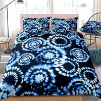 2/3-Piece Dark Blue Tie-Dye Pattern Duvet Cover Set