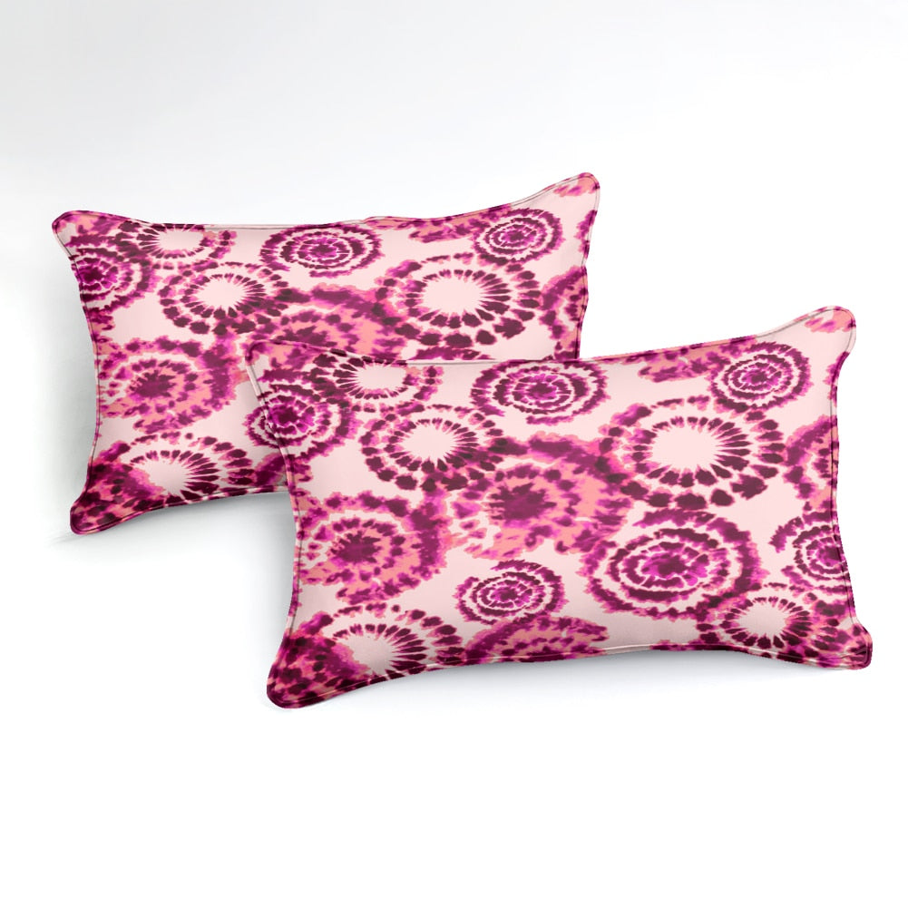 2/3-Piece Red & Pink Tie-Dye Pattern Duvet Cover Set