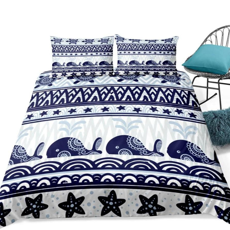 2/3-Piece Blue Boho Whale Stripe Duvet Cover Set
